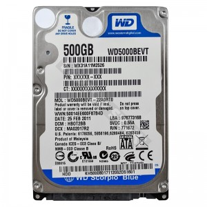 "WD WD5000BEVT 500GB SATA 2,5"" gyári új laptop winchester"