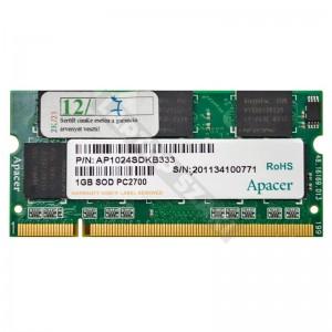 Apacer 1GB DDR1 333MHz notebook memória (AP1024SDKB333)