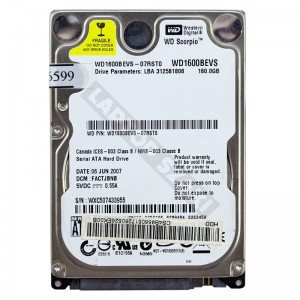 "WD WD1600BEVS 160GB SATA 2,5"" használt laptop winchester"