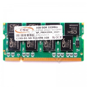 CSX 1GB DDR 333MHz laptop memória (CSXO-D1-SO-333-648-1GB)