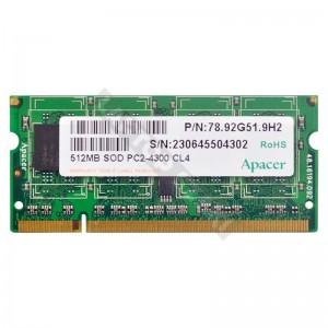 Apacer 512MB DDR2 533Mhz használt notebook memória (78.92G51.9H2)