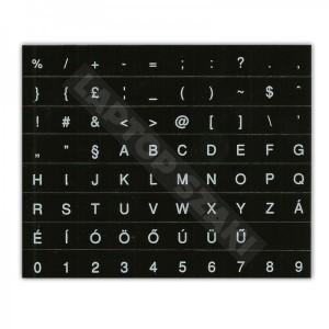 Fekete alapon fehér betűk - Magyar billentyű matrica