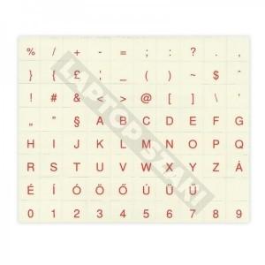 Átlátszó alapon piros betűk - Magyar billentyű matrica