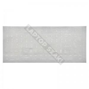 Billentyűzet matrica - átlátszó alapon fehér
