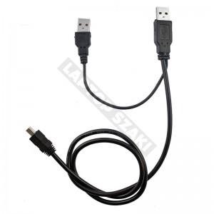 USB Y kábel 2 x USB - 1 x mini USB
