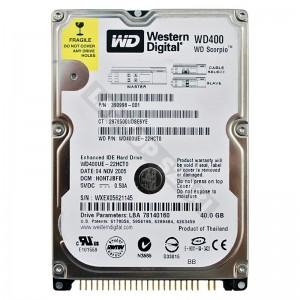 """WD WD400UE 40GB IDE 2,5"""" használt laptop winchester"""