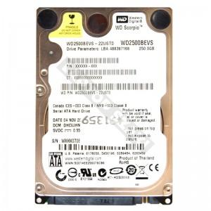 "WD WD2500BEVS 250GB SATA 2,5"" használt laptop winchester"